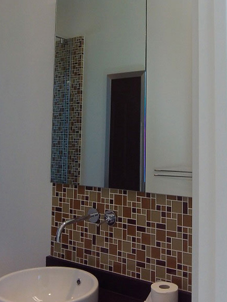 Frameless Steam Shower Enclosure Mirrored Medicine