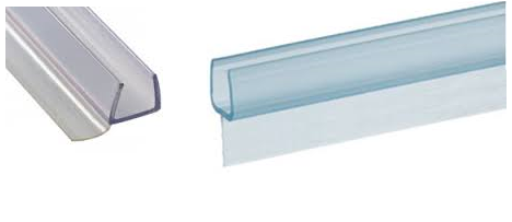 Clear Plastic Edge Seals On Frameless Shower Enclosures